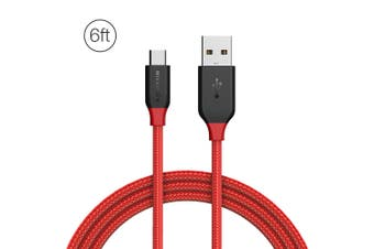 BlitzWolf Ampcore BW-MC5 2.4A Micro USB Braided Data Cable 6ft/1.8m for Samsung S7 Redmi Note 4(red)(1.8m Micro USB)
