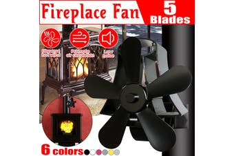 Free Shipping + Flash Deal New 5 Blades Wall Mounted Heat Self-Power Stove Fan Wood Burner Fireplace Ecofan(black)(5 Blades with Stove Thermometer)
