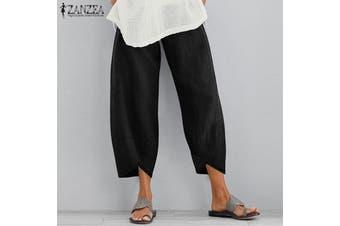 ZANZEA Womens Casual Loose Elastic Waist Long Trousers Ladies Harem Pants Plus(black)(S)