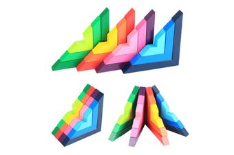 12pcs 3D Wooden Rainbow Right Angle Blocks Stacking Educational Montessori Toy