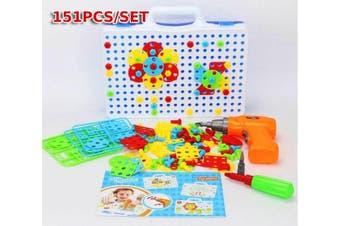 151PCS Mosaic Building Blocks Peg Electric Drill Assemble Toy Set Christmas BB
