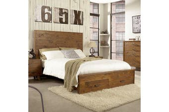 Cob&Co King Bed With Drawer Rustic Colour