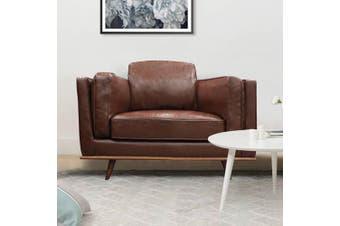 York Sofa 1 Seater Brown PU
