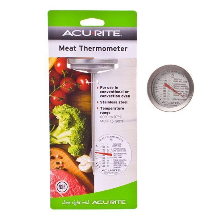 Dial Meat Thermometer Dial Meat Thermometer  This Dial Meat Thermometer is a must in any kitchen. To get that perfectly cooked meat this thermometer has a handy gauge that outlines the temperature required for a variety of different roastmeats.