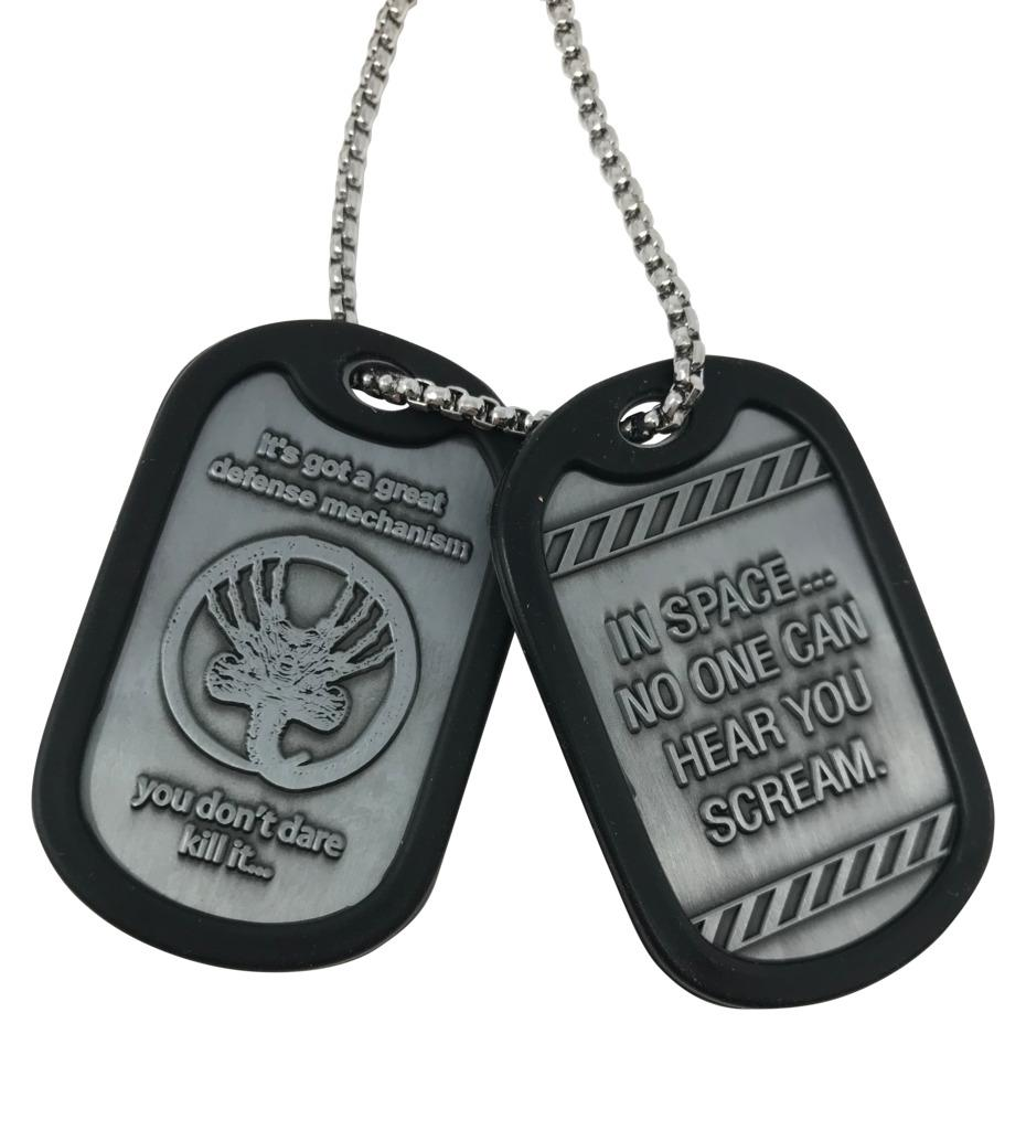 Alien - Dog tags Alien– Dog tags  An amazing collectable item for any Movie fan or a valuable addition to any collection. Officially licensed by 20th Century Fox, this highly detailed set of metal dog tags has an embossed design on both sides and surrounded by protective silicone.  Features:   Officially licensed collectable necklace.  Metal dog tags with rubber outer coating.  Featuring quotes and imagery from the film.