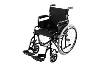 EQUIPMED 24 Inch Folding Wheelchair Foldable Manual Portable Brakes Wheel Chair