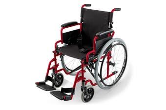 EQUIPMED 24 Inch Folding Wheelchair Foldable Manual Portable Wheel Chair Brakes