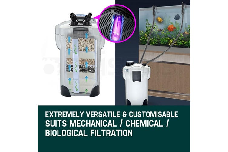 PROTEGE Aquarium External Canister Filter Aqua Fish Tank Multi Stage Pond Pump UV Light