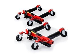 T-REX Vehicle Positioning Jacks Hydraulic - 2 x 12 Inch Wheel Dolly Car Go Jack Pair