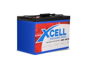 X-Cell 100Ah AGM Battery Deep Cycle 12v Marine Solar Camping Glass Matt 4WD Volt