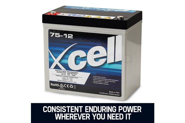 X-CELL AGM Deep Cycle Battery 12V 75Ah Portable Sealed SLA Camping Solar Marine