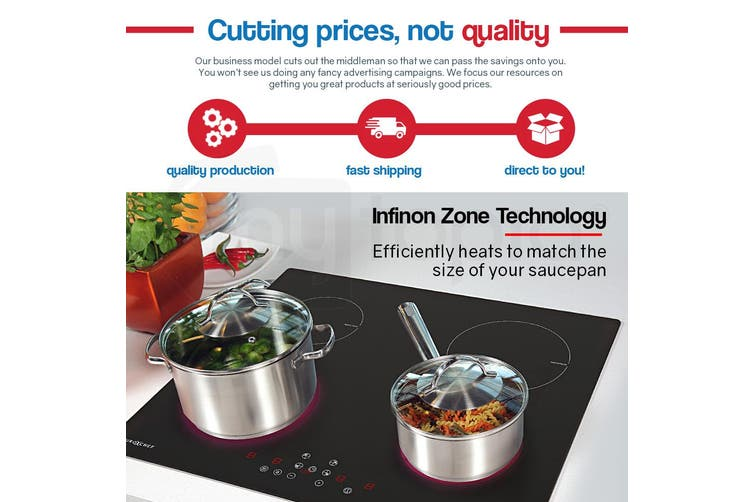 EuroChef 60cm Induction Cook Top Cooktop Electric Hot Plate Hob Plate 4 Zone