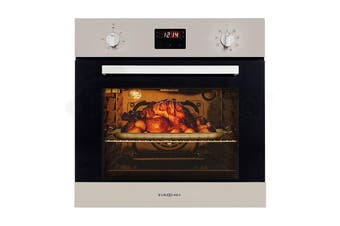 EuroChef 60cm Stainless Fan Forced Electric Wall Oven 8 Function Grill Touch Control