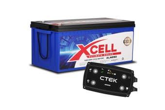 CTEK D250SE Dual Input  Charger + X-CELL Deep Cycle 230A AGM Battery Bundle