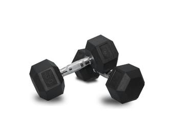 2 x 30lb Dumbbells Dumbbell Hex Weights Rubber Home Gym Fitness Pair of Hand Set