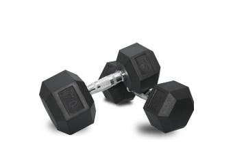 2 x 70lb Dumbbells Dumbbell Hex Weights Rubber Home Gym Fitness Pair of Hand Set