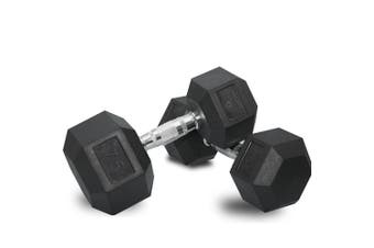 2 x 75lb Dumbbells Dumbbell Hex Weights Rubber Home Gym Fitness Pair of Hand Set