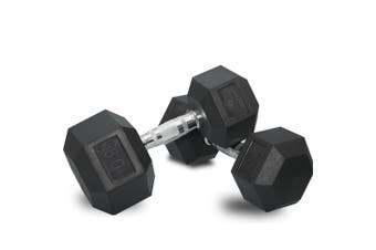 2 x 80lb Dumbbells Dumbbell Hex Weights Rubber Home Gym Fitness Pair of Hand Set