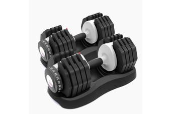 ATIVAFIT 2x 25kg Adjustable Dumbbell Set Weights Dumbbells Home Gym Fitness Hand