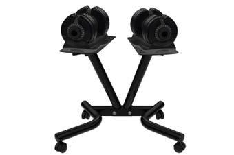 ATIVAFIT 2x 32.5kg Adjustable Dumbbell Set Weights Dumbbells Home Fitness Stand