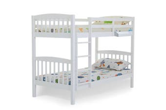 KINGSTON SLUMBER Bunk Bed Frame Modular Single White Wood Kids Double Deck Twin