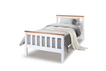 Kingston Slumber Single Wooden Bed Frame Base White Timber Kids Adults Modern Bedroom Furniture