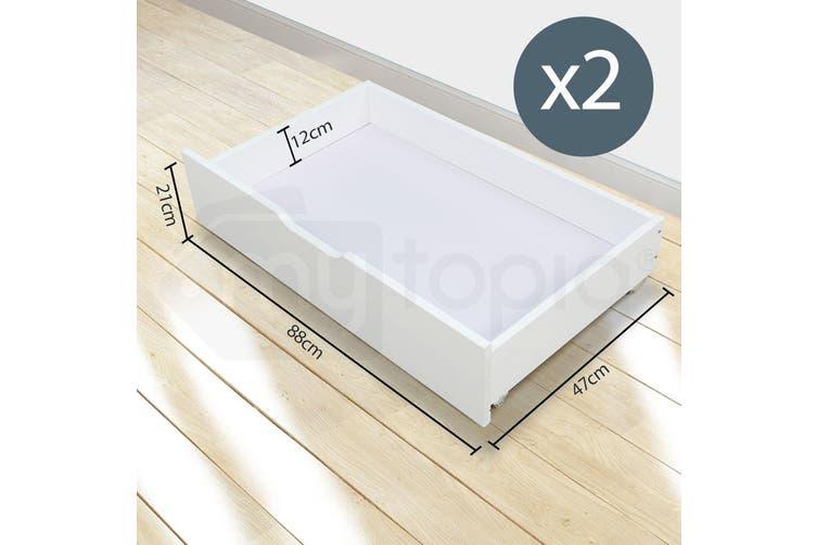 Kingston Slumber Single Wooden Pine Bed Frame + Under Bed Storage Drawer Trundle Timber