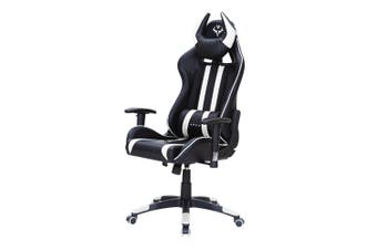 OVERDRIVE Diablo Reclining Gaming Chair Black & White Seat Computer Office Neck Lumbar Horns