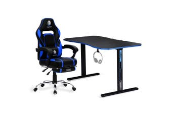 OVERDRIVE Gaming Chair Desk Racing Seat Setup PC Black Office Table Foot Combo