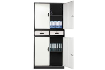 FORTIA Stationery Cabinet Office Metal Lockable Storage Cupboard 4 Door Drawers
