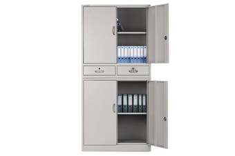 FORTIA Stationery Cabinet Office Metal Lockable Storage 4 Door Drawers Cupboard