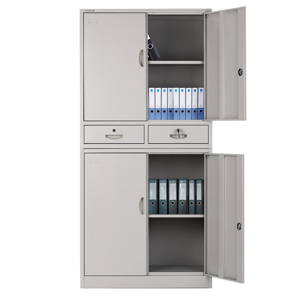 Image of: Fortia Stationery Cabinet Office Metal Lockable Storage 4 Door Drawers Cupboard Matt Blatt