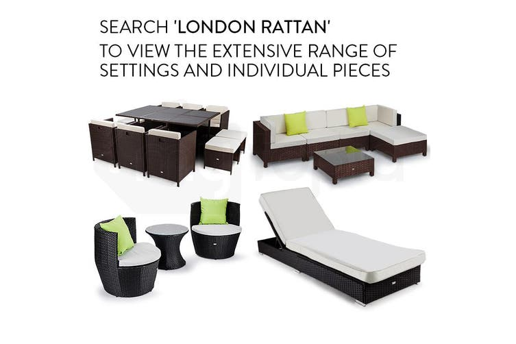 LONDON RATTAN 1pc Sofa Outdoor Furniture Setting - Steel Frame Garden Lounge