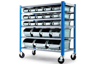 Baumr-AG 22 BIN Storage Shelving Tools Parts Rack Shelf Garage Workshop Wheels 5 Tier