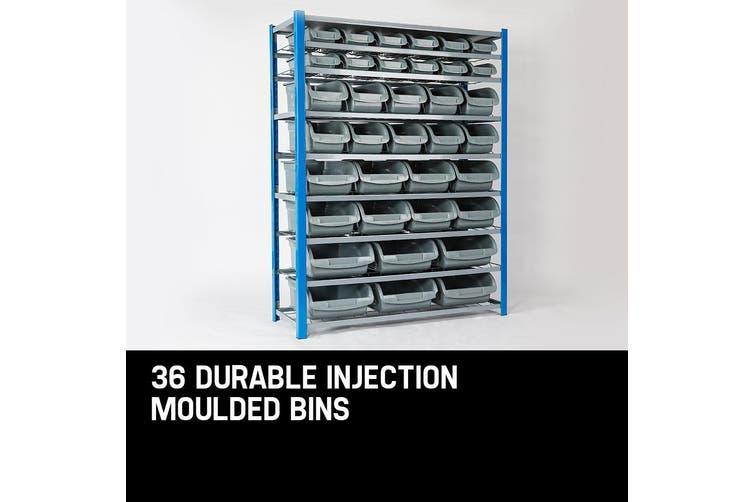 Baumr-AG 36 Parts Bin Storage Shelves Rack Shelving Tools Shelf Metal Workshop Garage