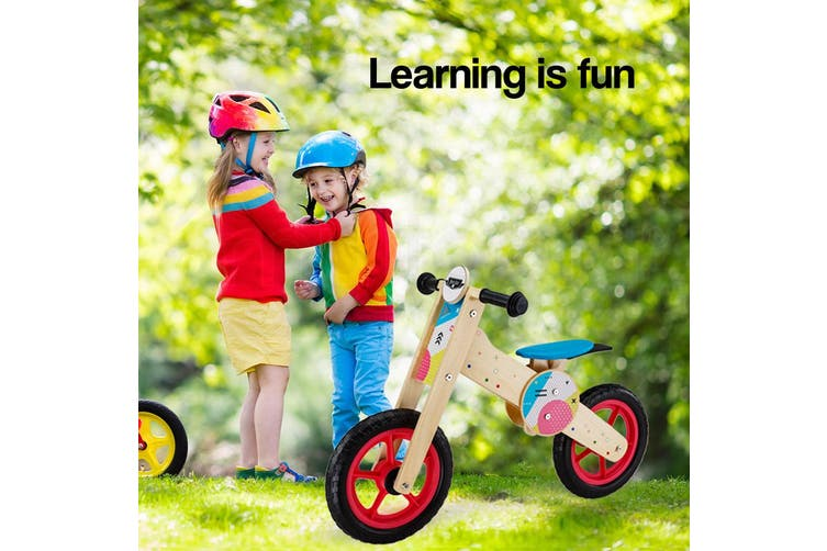 ROVO KIDS Balance Bike Wooden Ride On Toy Bicycle Push Training Outdoor Toddler