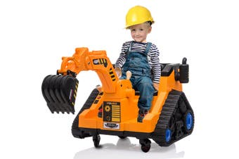 ROVO KIDS Ride On Digger Excavator Toy Electric Sit On Toddler Battery Powered