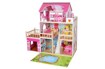 ROVO KIDS Dollhouse Dream Dolls Doll House Wooden Furniture Girls Pink Mansion