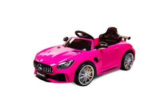 Rovo Kids Kids Ride On Car Licensed Mercedes-Benz AMG GTR Electric Toy Battery Pink