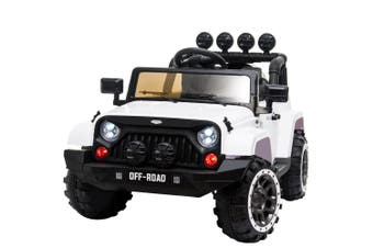 ROVO KIDS Electric Ride On Car 4WD Jeep Inspired  Boys Toy Battery White 12V