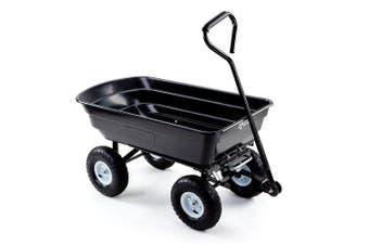 PLANTCRAFT 250kg Poly Pull Dump Cart Garden Hand Trailer Wagon Lawn Wheelbarrow