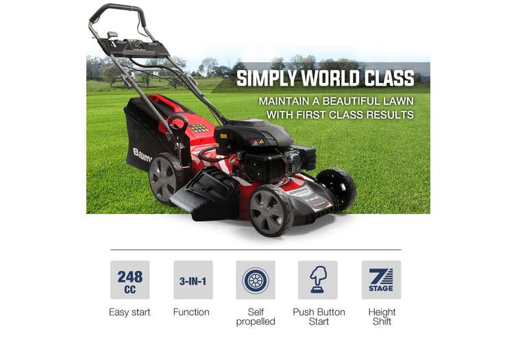 Baumr-AG Lawn Mower 21 Inch 248cc Electric Start Petrol Self-Propelled Lawnmower