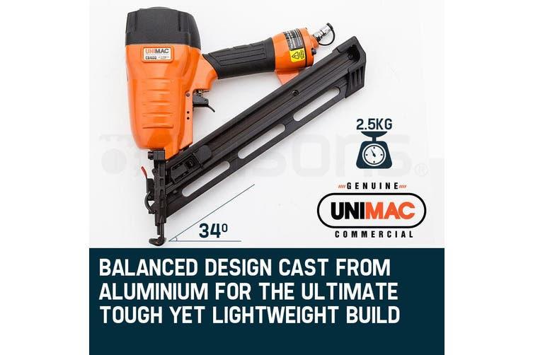 UNIMAC Finishing Air Nail Gun - Heavy Duty Angled Nailer Pneumatic Finish