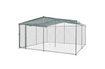 NEATAPET 3x3m Outdoor Chain Wire Dog Enclosure Kennel with Shade Cover for Dog, Puppy