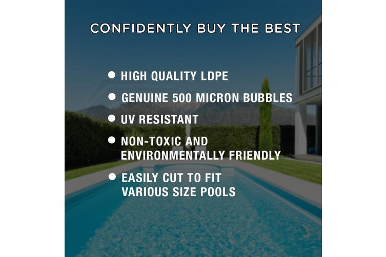 AURELAQUA Solar Swimming Pool Cover + Roller Wheel Adjustable 500 Bubble 8.5x4.2