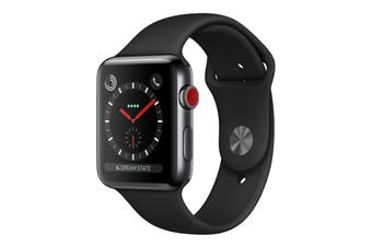 Apple Watch 42mm Black Stainless Steel Case & Sport Band (GPS+Cellular) [Au Stock]