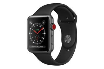 [Open Box - As New] Apple Watch 42mm S3 (Cellular) - Grey Al Case w/ Black Sport Band [Au Stock]