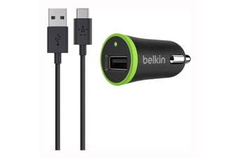 Belkin 2.1A USB Car Charger with Type C to USB A Cable - Black [Au Stock]