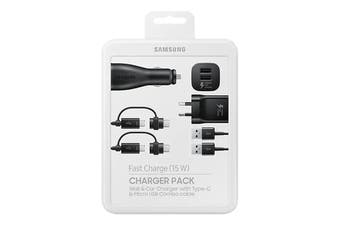 Samsung 15W Fast Charge Charger Pack (Wall + Car Charger + 2 Combo Cables) EP-U3100WBEGAU [Au Stock]