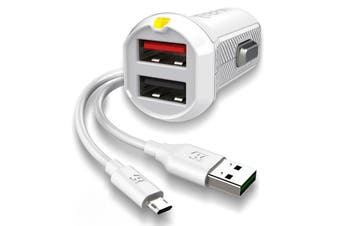 EFM 17W Dual Car Charger with Micro USB Cable - White [Au Stock]